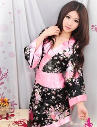 Wholesale Japanese Lingerie Woman - Wholesale- Attractive Hot Sale Sexy Japanese Kimono Bath Robe Nightdress Women Flower Floral Kimono Lingerie Sleepwear Nightgown Pajamas
