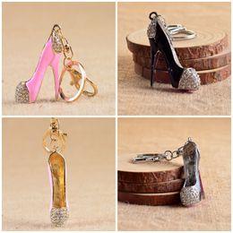 Wholesale Diamond Bottle Opener - Fashion Creative High Heels Shoes Crystal Diamond Sparkle Older Keyring Porte Women Bag Pendant Chain Keychain Jewelry Mix Style F936L