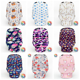 Wholesale Camo Car Covers - Camo Printed Car Seat Canopy Nursing Cover 34 Styles Infant Baby Carrying Case Grocery Cart Cover Stretchy Canopy Covers OOA2749