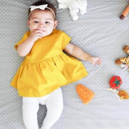 Wholesale Backless String - Cute Baby girls dress Yellow Short sleeve 2017 Ins summer batwing sleeve Backless bow strings dress Birthday gift dress for baby 100%cotton