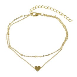 Wholesale Gold Chains New Designs - New Coming Gold Plated Double Layers Thin Chain Anklet with Heart Design Charms for Women