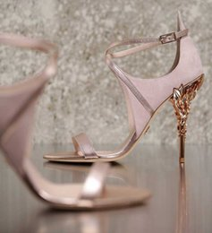 Wholesale Shoes Wholesales High Heels - 2017 pink blue white yellow Eden sandals bridal wedding shoes with white leather & silver python with silver leaves shoes for evening prom