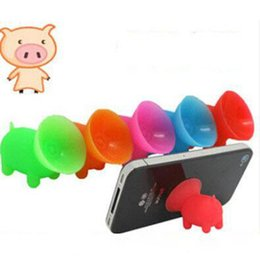 Wholesale 3gs Iphone Accessories - Adorable Pure Silica Gel Multi Color Pig Sucker Stand Holder for Car Mobile for Iphone 4s 4 3g 3gs Phone Accessory