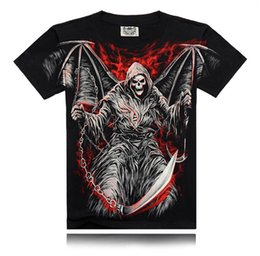 Wholesale Skull Shirt Dress - 2017 New Fashion T Shirt Casual T-shirt 3D Hell's Wing Skull Animal 100% Cotton Summer Dress For Men and Women
