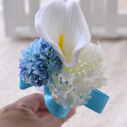 Wholesale Silk Lily Bouquets - The bride bridegroom Calla lily flower corsage brooches the bride holding flowers bridesmaids bouquet