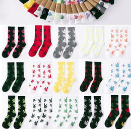 Wholesale Dhl Huf - New 300pair Cotton Socks FREE FEDEX or DHL mixed color men Maple Leaf Sock Thicken hiphop street Skateboarding Sport Socks BAB34