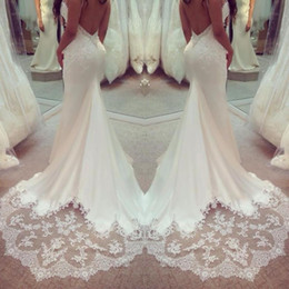 Wholesale Trumpet Style Beads - 2017 Sexy Backless Spaghetti Straps Wedding Dresses Satin And Lace Mermaid Trumpet Style Bridal Gowns Custom Made Vestido De Noiva Sereia