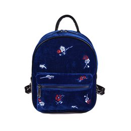 Wholesale Handmade Schoolbag - Wholesale- NEW Arrival Women Handmade Embroidery Floral Backpack Casual Velvet Shoulder Bag Mini Retro Women Student Schoolbag Backpacks