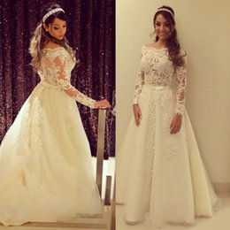 Wholesale Tailor Dresses - 2017 Fashion Appliqued Lace Tulle A-Line Princess Wedding Dress High Quality Long Sleeves Boat Neck Bridal Gowns Tailored Made