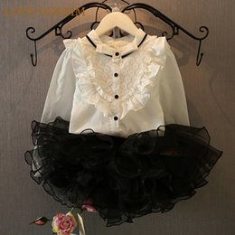 650dbceafd5 Wholesale- 2017 New Summer Autumn New Girls Clothing Sets Mandarin Collar  Lace Frill Long-sleeved Shirt + Tutu Skirts Kids Clothes