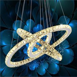 Wholesale Modern Led Ring Chandelier - Modern 3 ring Led Crystal Chandelier LED Light Dining Room Pendant Light Lamp Lighting Fixtures Round Transparent Crystal Ceiling Lights