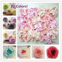 Wholesale Silk Purple Rose Flower Heads - 12CM Artificial The Chinese Rose Silk Flower Heads For Decorative Background Road Led Wedding Wall Arch Flower Bouquet FCR01
