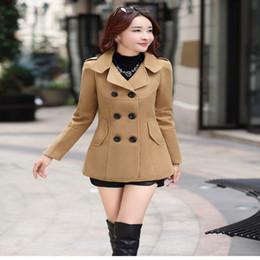 Cappotto di baco di lana delle donne online-2017 Autunno Inverno nuove donne di moda cappotto di lana doppio petto cappotto elegante aderente cappotto lungo di lana bozzolo tops tinta unita LU304