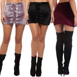 Wholesale Chiffon Miniskirt - Velvet miniskirt double row of studs with a bandage dress night dress