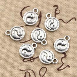 Wholesale Tai Chi Pendants - Wholesale- 99Cents 12pcs Charms tai chi yin yang 10mm Antique Making pendant fit,Vintage Tibetan Silver,DIY bracelet necklace