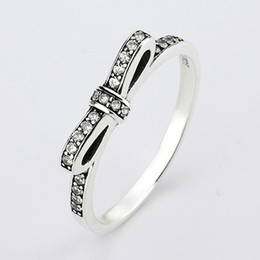Wholesale Engagement Rings For Women - Authentic 925 Sterling Silver Ring Fine Sparkling Bow With Crystal Rings For Women compatible with Pandora jewelry HRA0001