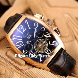 Wholesale Cheap Tourbillon Watch - 2017 Cheap New Luxry Brand Cintree Curvex Master Banker Rose Gold Black Dial 8880 T MB Automatic Tourbillon Mens Watch Leather Strap Watches