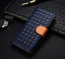 Wholesale Iphone 4s Case Woven - 2017 New Hot Creative Wallet Case For iphone 4s 5 6s 7 plus Fashion Leather Woven Cellphone Case Kickstand Phone Cover Mobile Accessory