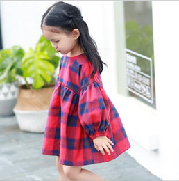 Wholesale Childrens Green Dresses - 2017 Baby Girls Plaid Dresses Kids Girls Fashion Cotton Dress Babies Autumn Ruffles Dress childrens clothing