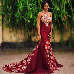 Wholesale Single Sleeve Prom Dresses - Unique Burgundy High Neck Mermaid Evening Dresses Single Short Sleeve With Gold Appliques Celebrity Party Gowns Trumpet vestido longo
