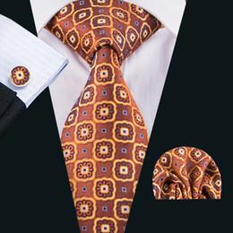 Wholesale Orange Silk Handkerchief - Wholesale Silk Ties Orang Necktie for Men Floal Mens Nectkie Handkerchief Cufflinks Set for Wedding Part BusinessN-1613