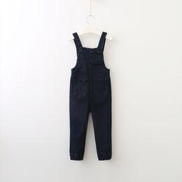 Wholesale Thouser Denim - Hug Me Girls Overllars Kids Jeans 2017 Autumn Denim Korean Fashion Pleated Denim Overalls Long Pants HX-210