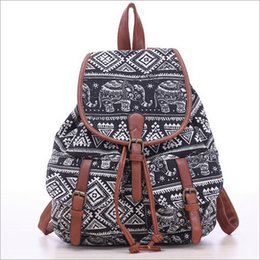 Wholesale Shool Bags - Wholesale- TZECHO 2016 Spring Women Printing Backpacks 5 Colors Elephant And Flower Casual Canvas Backpack Shoulder Shool Bags For Girls