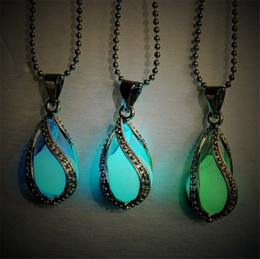 Wholesale White Glow Stones - Fashion Necklaces Pendants Glow In The Dark Locket Silver Hollow Glowing Stone Pendant Luminous Statement Chocker Pendant Necklace For Women