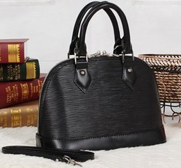 Wholesale Real Trim - Top quality Alma BB M40301 Black color épi real Leather Tote bag,Removable Leather Strap,Double Leather Trim,2 Zip Closure,Microfibre Lining