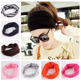 Discount cotton wholesale china - New Europe and the United States Knitted Hair Accessories Women Headbands candy Colors sport Handmade cotton Headbands CA199