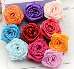 Wholesale Satin Rose Flower For Headband - 1000pcs lot Hair Product Children Accessories diy 25mm Satin Ribbon Flower Rose for crafts clothing headbands Wedding