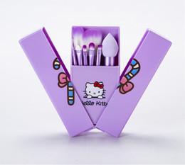 Hello Kitty Maquillage Brosses Set + Miroir Cas fard à paupières fard à joues Brush Kit maquillage de toilette appareils de beauté 8 pcs set enfants outils cosmétiques ? partir de fabricateur
