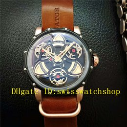 Wholesale Steel S4 - Luxury Brand Black Stainless Steel Navigator-S4 Automatic Men's Watch Black Dial Brown Strap Mans Wristwatches