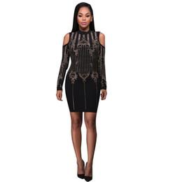 Wholesale Bandage Dresses Diamond - Elegant Long Sleeve Diamond Printed Bandage Dress 2017 Fashion Autumn Winter Off Shoulder Slim Bodycon Dress Black Party Dresses