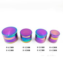 Wholesale Machining Zinc - 40mm 50mm  52mm 63mm Rainbow Tobacco Grinders 4 Layer Metal Herb Grinder Zinc Alloy Material Top Herb Grinders Smoking Spice Crusher Machine