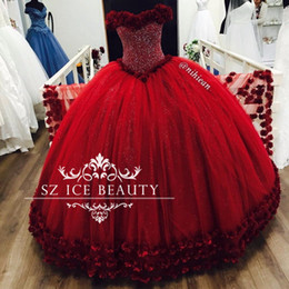 Wholesale Puffy Photo - Bling Sequins Crystal Off Shoulder Red Quinceanera Dresses Flowers Long Puffy Ball Gown Major Beading Girls Sweet 16 Party Birthday 2017
