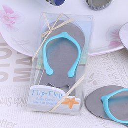 Wholesale wedding favors slippers - Alloy Beach slippers Beer Bottle Openers Creative Novelty Flip Flops Bottle Opener Wedding Favors gift with retail box