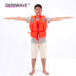 Wholesale Life Jacket Orange - Wholesale- Professional Swimwear Orange Prevention Flood Rafting Drift Suit Adult Foam Life Jacket Vest Flotation Device+1*Survival Whistle