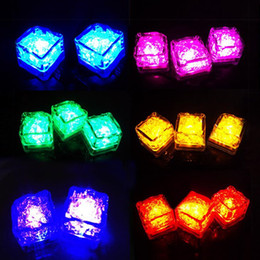 Wholesale Led Cubes - Flash Ice Cube LED Color Luminous in Water nightlight Party wedding Christmas decoration Supply Water activitated Led light up Ice Cube