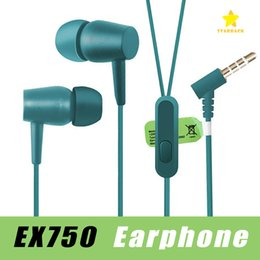 Wholesale Orange Headphones - EX750 Earphone In-ear Stereo Bass Headset Wired Headphone Handsfree Remote Mic Earbuds For iPhone Samsung Sony 3.5mm Jack with Package