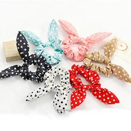 Wholesale Rabbit Hair Tie - gum for 100PCS Mix Style Bunny Clip Scrunchie Rabbit Ears Dot Headwear Elastic Rope Girls Accessories Hair Tie Gum