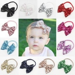 Wholesale Elastic Band Glitter - 2017 INS baby girl kids New Sequins Bows Hair Bands Nylon Elastic Bands Newborn Baby Headbands Glitter Bows Headwrap Hair Accessories