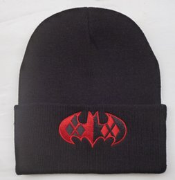 Wholesale Dc Comics Hats Batman - Dc Comics Batman Beanie Hats Sale Popular Warn Winter Cartoon Beanies Embroidery Knitted Hat Men Women Skull Caps Knit Cap