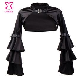 Wholesale Womens Ruffled Jacket - Wholesale- Corzzet Vintage Black Satin Gothic Short Jacket Long Sleeve Coat for Women Victorian Jacket Accessories Corset womens winter