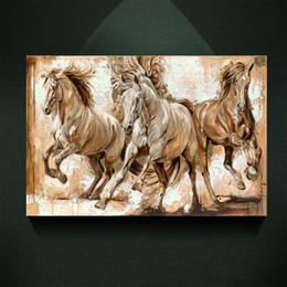 óleo, abstratos, pintura, girassóis Desconto Pintura a Óleo Europeia Moderna Três Galopando Cavalo Impressão na Lona Arte Da Parede Decor Canvas Poster Pictures para Sala de estar