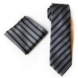Wholesale Neckties Pocket Squares - men's necktie handkerchief set strips polyester tie hankie 8cm ties pocket square black grey striped accessories for men