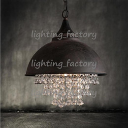Wholesale Luxury Light Switches - American country style retro industrial pot cover iron luxury crystal pendant lights living room hotel clubs pendant lamp