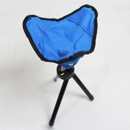 Wholesale Festival Chair - Wholesale- New Portable Camping Hiking Folding Foldable Stool Tripod Chair Seat For Fishing Festival Picnic BBQ Beach random color