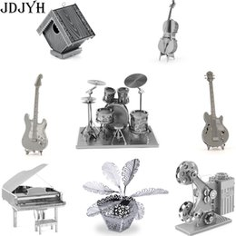 Wholesale 3d Puzzle Guitar - 3D Metal Earth Puzzle For Adult And Kids DIY Education Gift For Children Jigsaw Puzzle Of Piano guitar drum projector palm tree