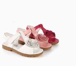 Wholesale Bottom Girl Korean - Leather sandal large soft bottom flower girls The first layer of leather Korean girls sandals,3 color